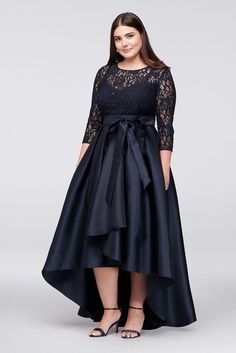 Mikado Plus Size Lace Bodice Plus-Size High-Low Ball Mother of Bride/Groom Gown - Navy (Blue), 20W