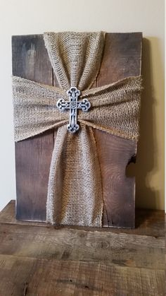 Burlap cross by KindhartKreations on Etsy