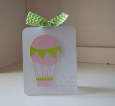 Hot Air Balloon Invitations First Birthday Party Girl Baby Shower Pink and Lime Green Chevron by CardinalBoutique on Etsy