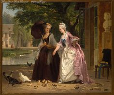 Marie Antoinette feeding birds at the Trianon by Joseph Caraud. 1900.