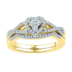 10k Yellow Gold Womens Natural Round Diamond Heart Cluster Bridal Wedding Engagement Ring Set 3/8 Cttw