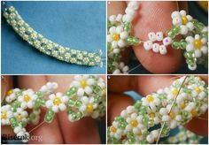 Tute for more traditional daisy rope chain. (Translate) #Seed #Bead #Tutorials
