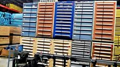 More Stanley Vidmar tool/storage cabinets. We have a warehouse full of pre-owned, durable beauties like these. Call Speedrack Midwest for a discounted solution to your small item storage problem.