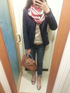 Hermes maxi twilly, H\u0026amp;M tweed top, black blazer, Zara pants, black ...