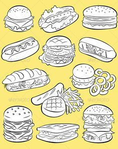 Hamburgers Vector  #GraphicRiver         Vector Illustration of Hamburger collection in line art style     Created: 12May13 GraphicsFilesIncluded: JPGImage #VectorEPS #AIIllustrator Layered: Yes MinimumAdobeCSVersion: CS Tags: OnionRings #PotatoChips #TakeOutFood #burger #cheeseburger #corndog #doodle #fastfood #food #frenchfries #ham #hamburger #hotdog #kebab #meatballsandwich #sandwich #sausage #sketch #snack #taco #toastedsandwich #unhealthyeating #vectoricons