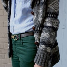 Spruce colored jeans