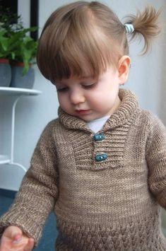 Boy sweater pull avec col châle pour bébé et enfant du 3 mois au 8 ans - explications de tricot chez Makerist