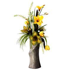 Jarrón argent avec linéaire lys, proteas, baies et feuillage