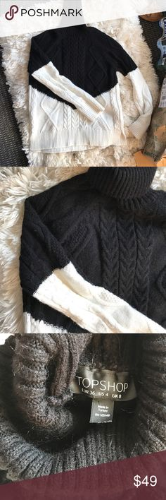 TOPSHOP turtleneck sweater black/white Super warm. In excellent condition. Runs small. Fits a XS/S or a size 2 Topshop Sweaters Cowl & Turtlenecks