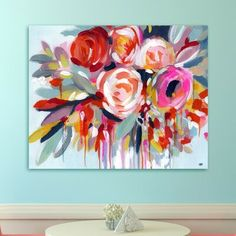 Learn how to paint flowers on canvas with acrylics the easy way with step by step instructions. Artist Elle Byers has severial online painting classes and tutorials available. Flower Painting Canvas, Flower Canvas, Diy Painting, Painting Prints, Flower Art, Painting Classes, Online Painting, Diy Canvas, Canvas Art