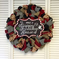 Large Burlap Happy Holidays Christmas Wreath, Xmas Wreath, Holiday Wreath, Large Door Decor, Door Wreth