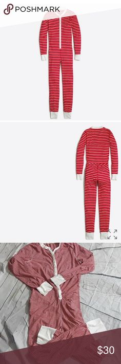 J Crew onesie pj Union striped size L Adorable womens onesie, sold out everywhere Union Striped pjs. The color is red in white in good condition j crew Intimates & Sleepwear Pajamas