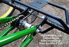 Make any bike a trike using our 3 wheel bicycle conversion axle.Custom built special needs bicycles tricycles.Higley 3 wheel tag along for kids. Velo Tricycle, Adult Tricycle, Trike Bicycle, Cargo Bike, Lowrider Bicycle, Go Kart, Kit Cars, Bike Chopper, Bici Retro