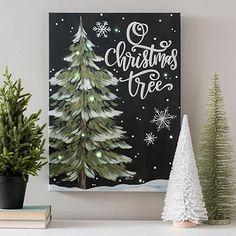Snow Covered Christmas Trees, Christmas Tree Canvas, Black Christmas Trees, Christmas Paintings On Canvas, Dollar Tree Christmas, Christmas Tree Painting, Christmas Wall Art, Christmas Crafts, Painted Christmas Tree