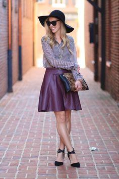 Stripes & Leather: LOFT black striped silk blouse, faux leather burgundy skater skirt, circle skirt, Joe's black suede ankle strap heels, oversized leopard clutch, black wool floppy hat, Chanel cateye sunglasses