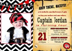 Pirate Invitation- Pirate Birthday Invitation- Pirates Birthday invitation PDF/JPEG by SelviePartyPrints on Etsy https://www.etsy.com/listing/223053574/pirate-invitation-pirate-birthday