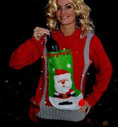 liquor or Wine Holder Ugly Christmas Sweater, Light up, Women's Large, santa stocking, alcohol, wine, novelty, wine holder, party sweater