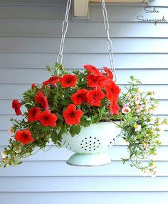 DIY hanging flower basket planter using a repurposed and upcycled vintage enamel colander by Sadie Seasongoods / www.sadieseasongoods.com