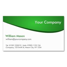 green and white curved professional business card - Pharmacy Business Cards