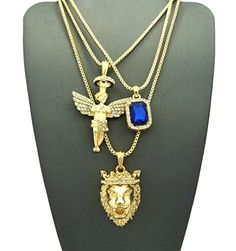"""Micro Colorful Gemstone, Angel, Lion Pendant 24"""",30"""" Box Chain 3 Necklace Set Gold Tone RC1413G >>> Click image for more details."""