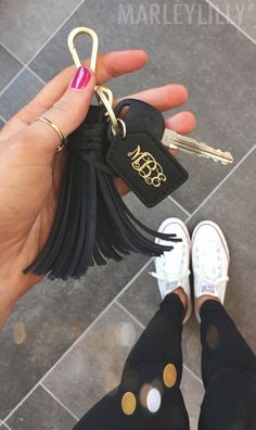 Just what your keys need! Monogrammed Tassel Key Fob! Shop now at https://marleylilly.com/product/monogrammed-tassel-key-fob/