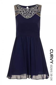 Curvy Navy Embellished Yoke Skater Dress £60.00 by Little Mistress