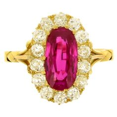Antique Natural Burmese Ruby and Diamond Ring | From a unique collection of vintage cluster rings at https://www.1stdibs.com/jewelry/rings/cluster-rings/