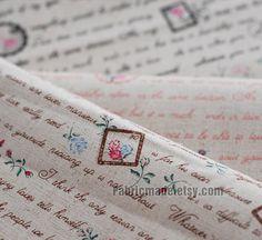 Retro Cotton Linen Fabric Cloth  Hand Writing by fabricmade