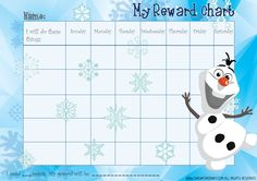 Frozen reward chart Olaf. Download the free printable PDF Olaf behaviour chart at http://singaporebaby.com/free-frozen-reward-chart-olaf/.  Find more printables, charts and activities at http://singaporebaby.com