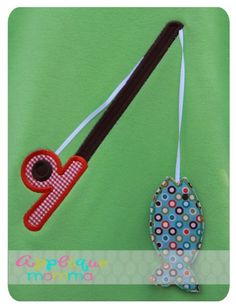 3D Fishing Pole Applique Design