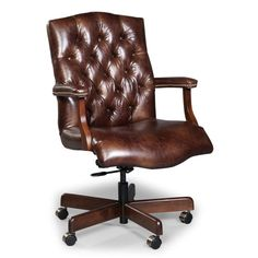 Fairfield Chair - E059-35 Stanford (Essentials) Office Swivel Executive Office Chairs, Swivel Office Chair, Desk Chairs, Chair Upholstery, Upholstered Chairs, Bankers Chair, Chair Pictures, Hooker Furniture, Leather