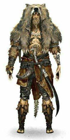 m Barbarian character concept druid shaman human male wield sabre horn cloth fur leather Jürgen Bearvigor, Beast Warrior. Fantasy Male, Fantasy Armor, Medieval Fantasy, Dark Fantasy, Fantasy Character Design, Character Design Inspiration, Character Art, Character Concept, Vikings