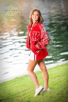 Lauren Johnson - Shops at Legacy - Plano, Texas - Cheerleader - Letter Jacket - Senior Portraits - Class of 2016 - Kingston High School - Oklahoma - Texas - Frisco - Senior Pictures - - Ideas for Girls - Cute Pose - - Tyler R. Cute Senior Pictures, Cute Cheer Pictures, Cheer Picture Poses, Softball Senior Pictures, Senior Photos Girls, Senior Girls, Cheer Pics, Team Pictures, Graduation Pictures
