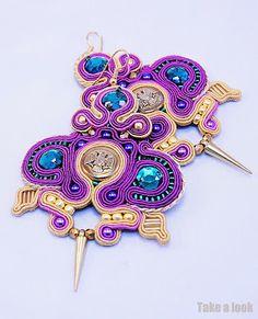 Soutach earrings by Take a Look gold, purple emerald