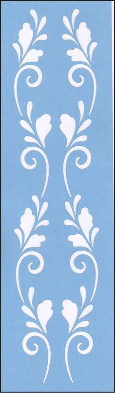 Scandinavian Double Scroll Blue Laser Border Stencil #817