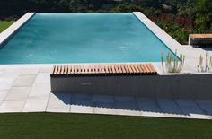 Remodeling Pool Design with Outdoor Bench, Wood Bench & Built-in Bench - Lawn, Infinity Pool, Concrete Deck, Back Yard & Back Garden