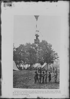 """Prof. Thaddeus Lowe ascends in his hot air balloon to get a better view of the Battle of Seven Pines or Fair Oaks. He had a personality much like the name of his balloon: """"Intrepid."""" His official title? Chief Aeronaut of the Union Army Balloon Corps.  1862. Mathew Brady Collection. (Army)"""