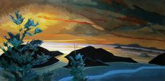 """Philip Koch, """"From Day to Night,"""" oil on canvas, 36 x 72"""", 2011  I came up with the idea for this painting during a week in Maine painting on location. It rained every day and I found myself imagining what it would look like to see the clouds open to reveal a sunset."""