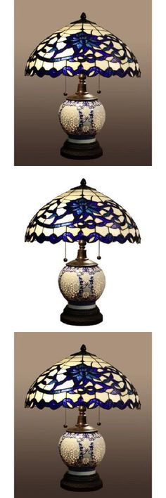 Lamps 112581: Blue Tiffany Style Table Lamp Akiko Stained Glass 21-Inch 3 Light Double Lit New -> BUY IT NOW ONLY: $188.07 on eBay!
