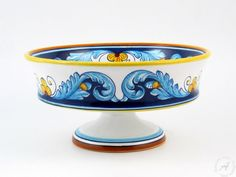Italian Kitchenware < Deruta ceramics: Eugenio Ricciarelli - Geometrico S11 - Footed frut bowl