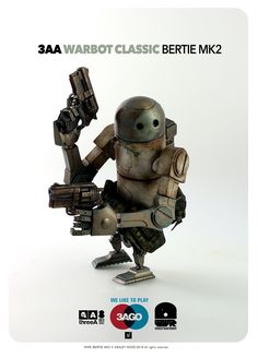WWR 3AGO Bertie MK2 Wave One – tomorrow at www.bambalandstore.com #threeA #AshleyWood #AshleyWoodArt #WorldOf3A #WO3A #3AGO #WWR #WorldWarRobot