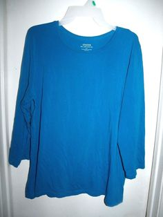 Chico's Ultimate Tee 3/4 Sleeve Sky Blue Top Shirt Size 3 XL 16 #Chicos #Blouse