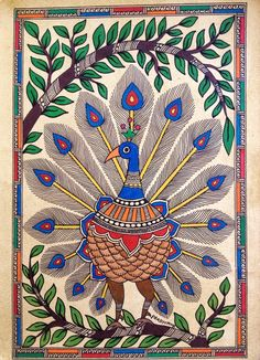 'Peacock in Plume' in the Madhubani style & tradition.