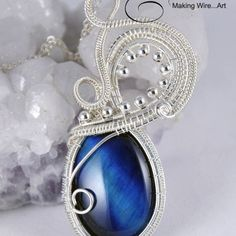 Sterling Silver Woven Wire Swans Neck and Blue Tiger Eye (D) Pendant