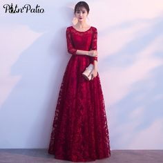 PotN'Patio Red Lace Evening Dresses Elegant O-neck quarter Sleeve A-line Long Formal Evening Gown Plus Size Lace Evening Dresses, Elegant Dresses, Evening Gowns, Formal Dresses, Buy Clothes Online, Tulle Flowers, Chiffon Gown, Trendy Clothes For Women, Aliexpress