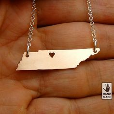 I heart Tennessee , Copper necklace, sterling silver chain, love, small. $30.00, via Etsy.
