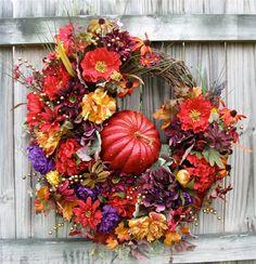 Tuscan Autumn Pumpkin Wreath in Red, Gold and Purple, XXXLarge, Fall, Peony, Poppy, Hydrangea