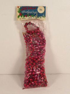 Vintage Glass Bead Garland Christmas Original Package 9 ft Long Mercury Red #mercuryglassbeads