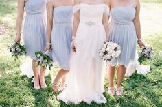 Light blue colored bridesmaid gowns