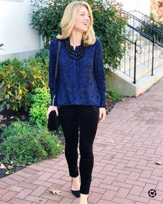 43684dea1ee4 Holiday look featuring navy and black floral tunic top from Old Navy and  Velvet pants from Loft